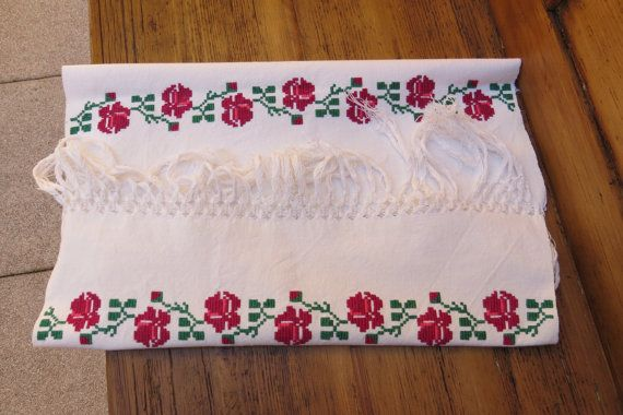 1. Vintage hand embroidered pure linen by vintagelinenbroidery