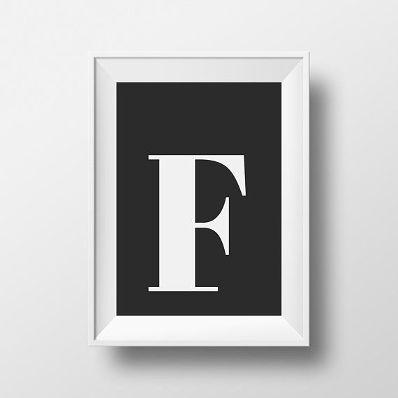 F Letter Print Wall Art, Alphabet Print, Black and White, Typography ...