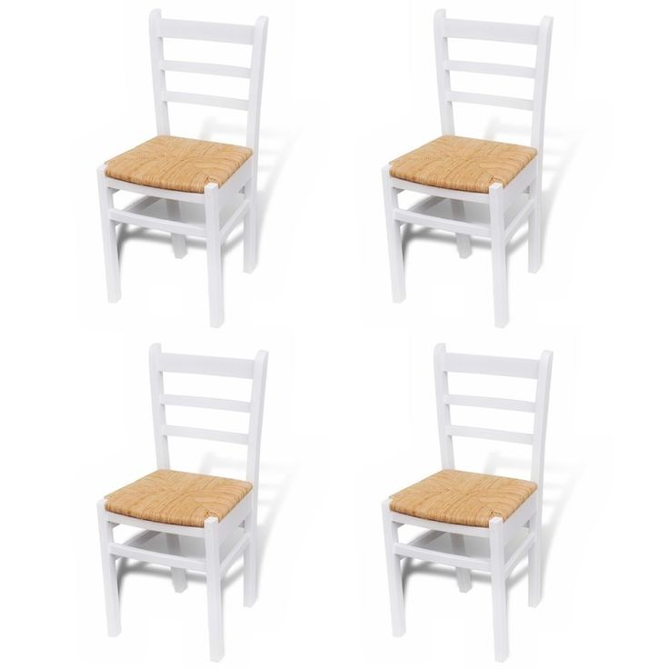 kitchen dining chairs vintage furniture white pine wood retro rush