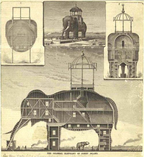 """""""The Coney Island Elephant was a hotel and brothel built in the shape of an elephant, and located on Coney Island. In 1885, the Elephant Hotel, also known as the Elephantine Colossus, was built by James V. Lafferty and was 122 feet high with seven floors and had 31 rooms. The hotel became associated with prostitution. This lead to the phrase 'going to see the elephant' being created, to mean going to see a prostitute."""""""