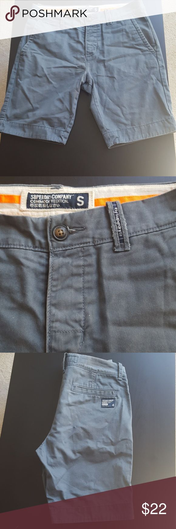 Superdry Mens Chino Shorts Great used condition! With four pockets and a button fly. The color is a steel Grey. Superdry Shorts
