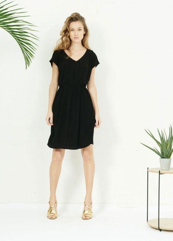 Robe ristrokes noir - robes et jupes femme - sud express