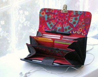 Black phone wallet clutch deluxe wallet purse by MrAndMrsWallet