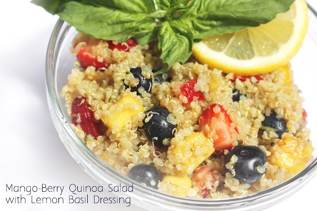 Mango-Berry Quinoa Salad with Lemon Basil Dressing    Great for breakfast, with dinner, a snack for the kids, or even as a healthy dessert!