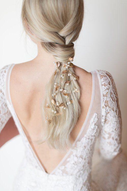 Bridal vine of dainty leaves and pearls by Untamed Petals #bridal hair updo #sideswept bridal hair #hair bridal #bridal hair styles #wedding brida