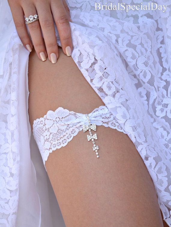 White Wedding Garter Set Stretch Lace Bridal Garter With Rhinestone Bows - Handmade Bridal Accessories on Etsy, $33.81