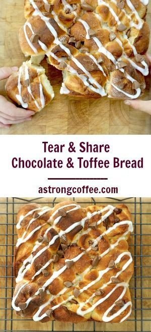 This tear and share bread is delicious. It is filled with toffee sauce and chocolate chips. If you make it you might not want to share it!