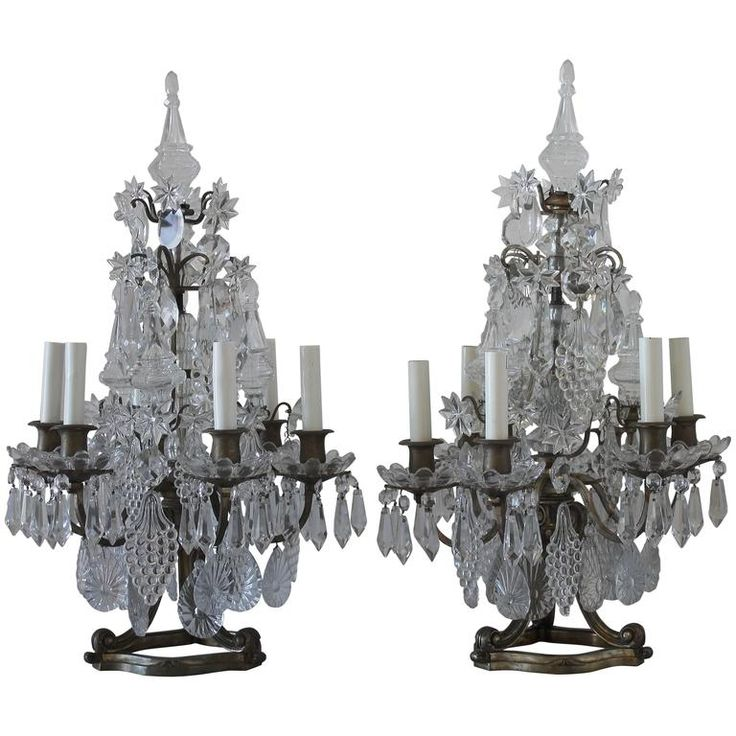 1800. Pair of 19th Century Gilt Bronze and Crystal Candelabra | From a unique collection of antique and modern table lamps at https://www.1stdibs.com/furniture/lighting/table-lamps/