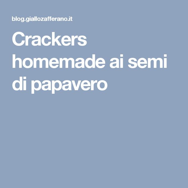Crackers homemade ai semi di papavero