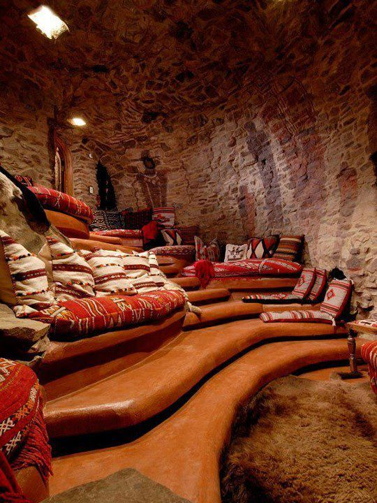 #CaveTheater, How's this for a #MediaRoom?  cave room - great for a home theater. I like the curved levels.