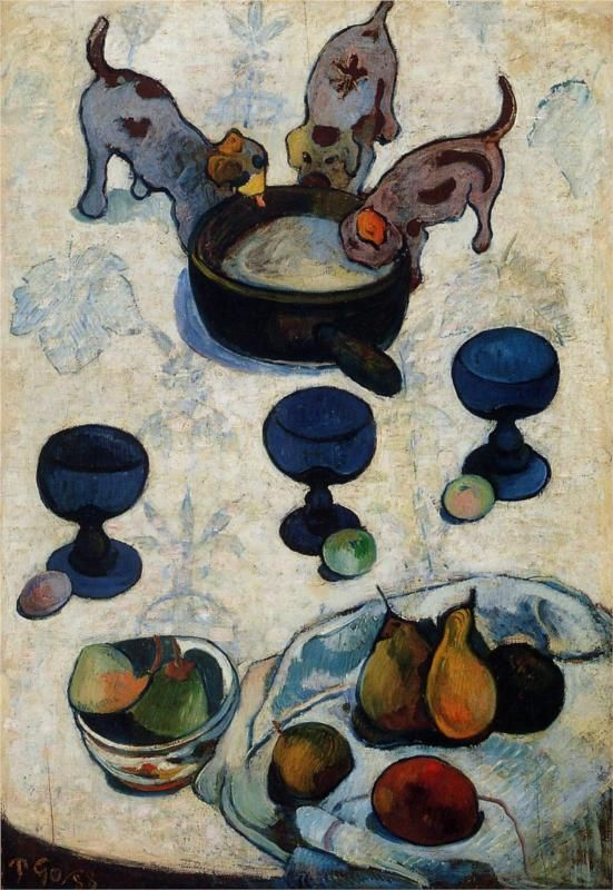 "Gauguin: ""Still Life with Three Puppies"", 1888. MOMA, NYC"