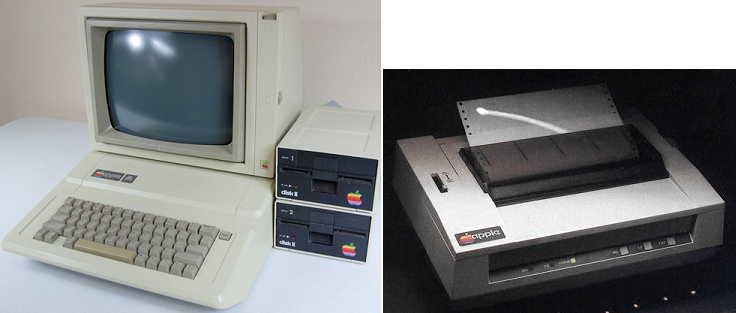 """1983 Apple IIe w/ 5¼"""" floppy disk drives and 1982 Apple Dot Matrix Printer. My first PC. I had some cool software. My favorite was Electric Duet, a music synthesizer that included some surprisingly well-done, (for the time), sample classical melodies. I also had Bankstreet Writer, (a word processor), a Pong-like game, a bowling game, and a few very crude RPGs. Also, I learned Applesoft Basic. Cutting edge, LOL! :-) Oh, look! Electric Duet's on youtube…"""