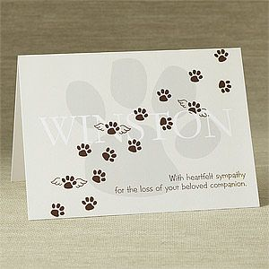 Personalized Pet Memorial Sympathy Card - Pawprints To Heaven - 8900