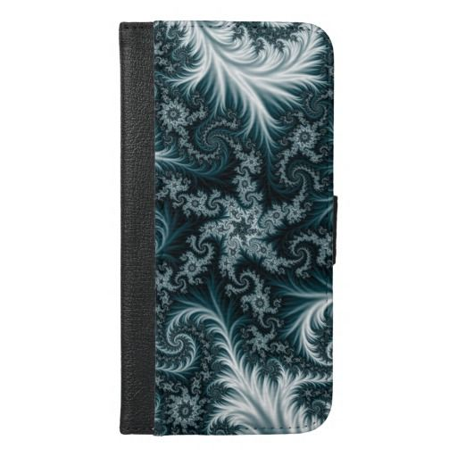 Cyan and white fractal pattern. iPhone 6/6s plus wallet case #walletcase #iphonecase #iphonewalletcase #iphone6case #iphone6pluscase #iphone6walletcase #iphone6pluswalletcase #abstract, #fractal, #illustration, #frost, #pattern, #flowers, #blue, #cyan, #green, dark, bright, colorful, #aquamarine, #lace, #tapestry, #customized #personalized #POD #graphics #artwork #buy #sale #giftideas #zazzle #discount #deals #gifts #shopping #mostpopular #trendy #cool #best #unique #stylish #gorgeous
