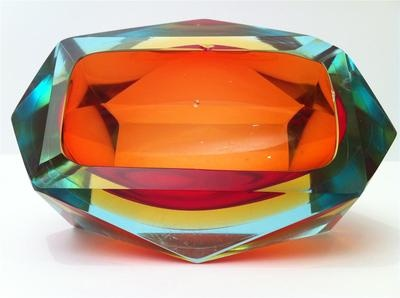 Quad Cased Diamond Faceted Block art glass