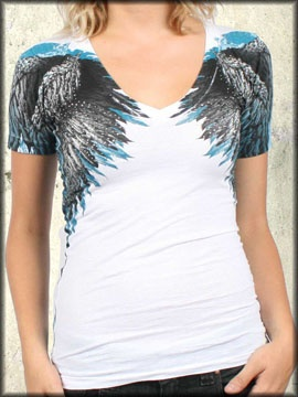 Rock Rebel Clothing - Affliction Isis Angel Wings Feathers Rhinestones  Womens Short Sleeve V-Neck