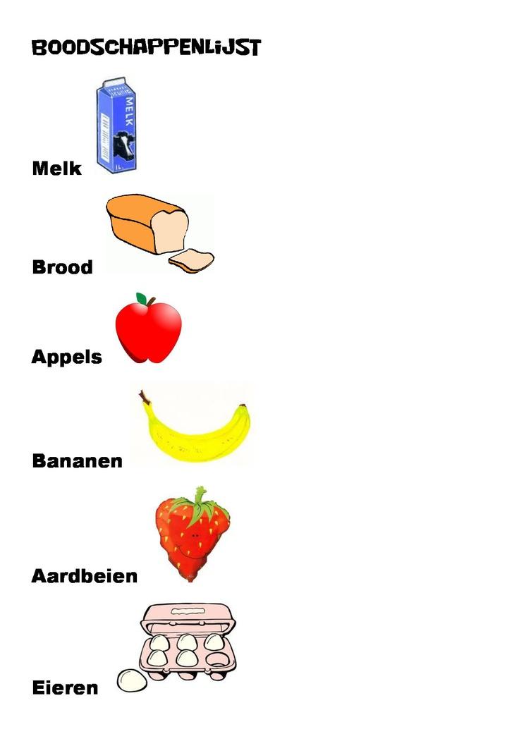 Boodschappenlijst voor kinderen.