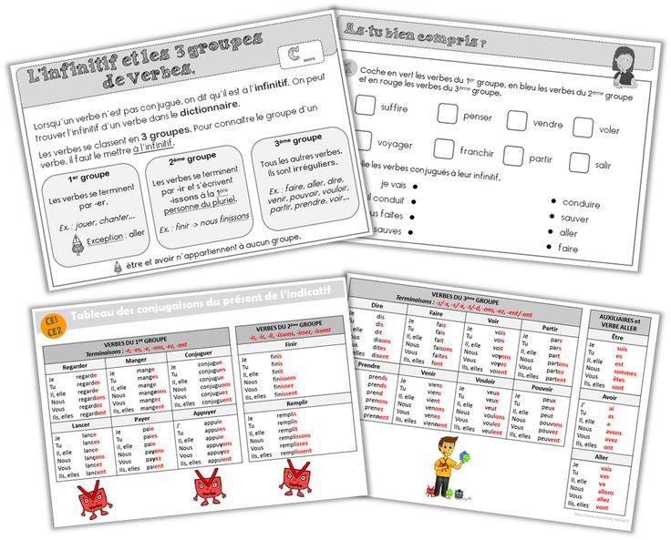 Leçons et tableaux de conjugaison pour les CE1-CE2 !