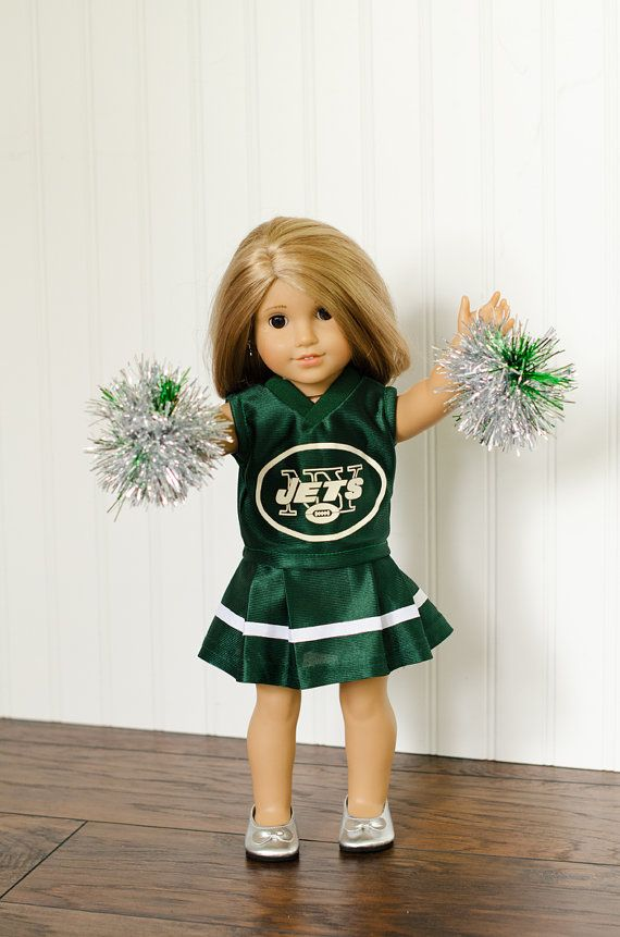 American Girl Doll NFL New York Jets football cheerleader outfit and pom poms on Etsy, $32.00