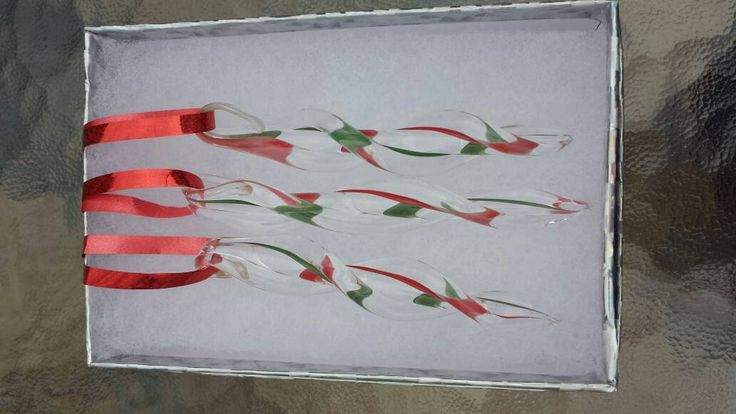 Christmas ornaments, 3 glass icicles, handmade in time for the holidays by DragonFireGlass on Etsy