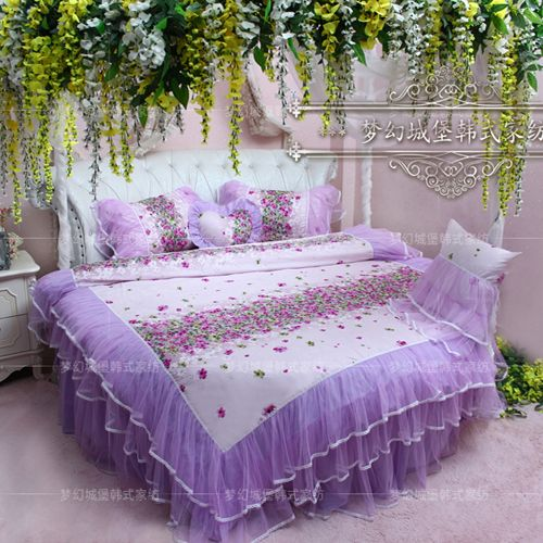 Find More Information About Dream Princess Round Bed Piece Set Purple Round  Bed Bedding Package Side Part 79
