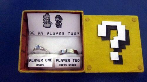 How does a geek girl propose to her geek boy? Kind of like this.  D'awww From #ThinkGeek via geeksaresexy.netWedding Ring, Geek Wedding, Geek Girls, Gamer Girls, Propos Ideas, Mario Bros, Super Mario, Marriage Proposals, Engagement Rings