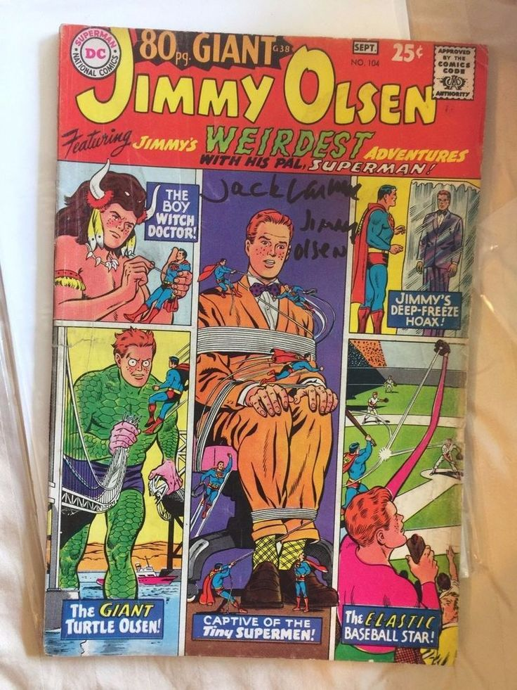 JACK LARSON AUTOGRAPHED JIMMY OLSEN SUPERMAN'S PAL 1967 GIANT 80 PAGE COMIC BOOK