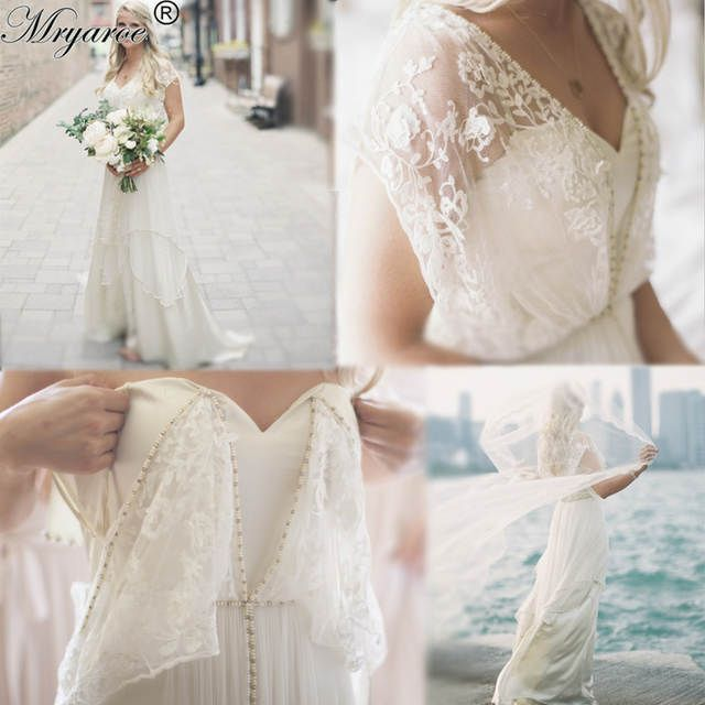 Mryarce Unique Style Bohemian Chic Vintage Wedding Dresses Lace Beading Flowing Beach Wedding Lace Wedding Dress Vintage Wedding Dresses Lace Boho Bridal Gowns