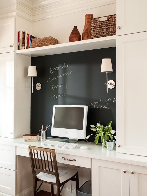 Great idea. Chalkboard paint wall behind desk.