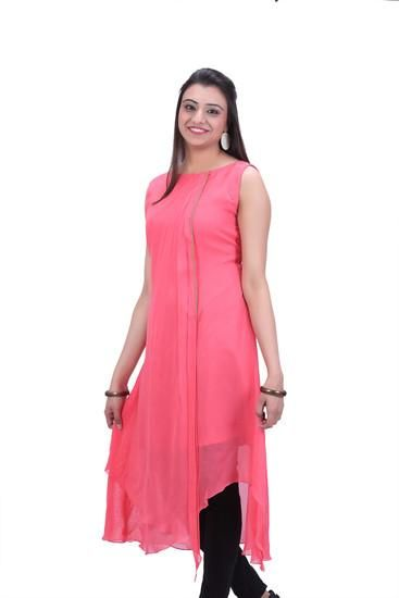LadyIndia.com # Cotton Kurti, Stylish Georgette Pink Kurti For Women, Kurtis, Kurtas, Cotton Kurti, https://ladyindia.com/collections/ethnic-wear/products/stylish-georgette-pink-kurti-for-women
