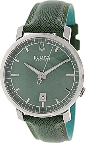 Men's Wrist Watches - Bulova Accutron II  96B215 Green Leather Strap -- You can get more details by clicking on the image.