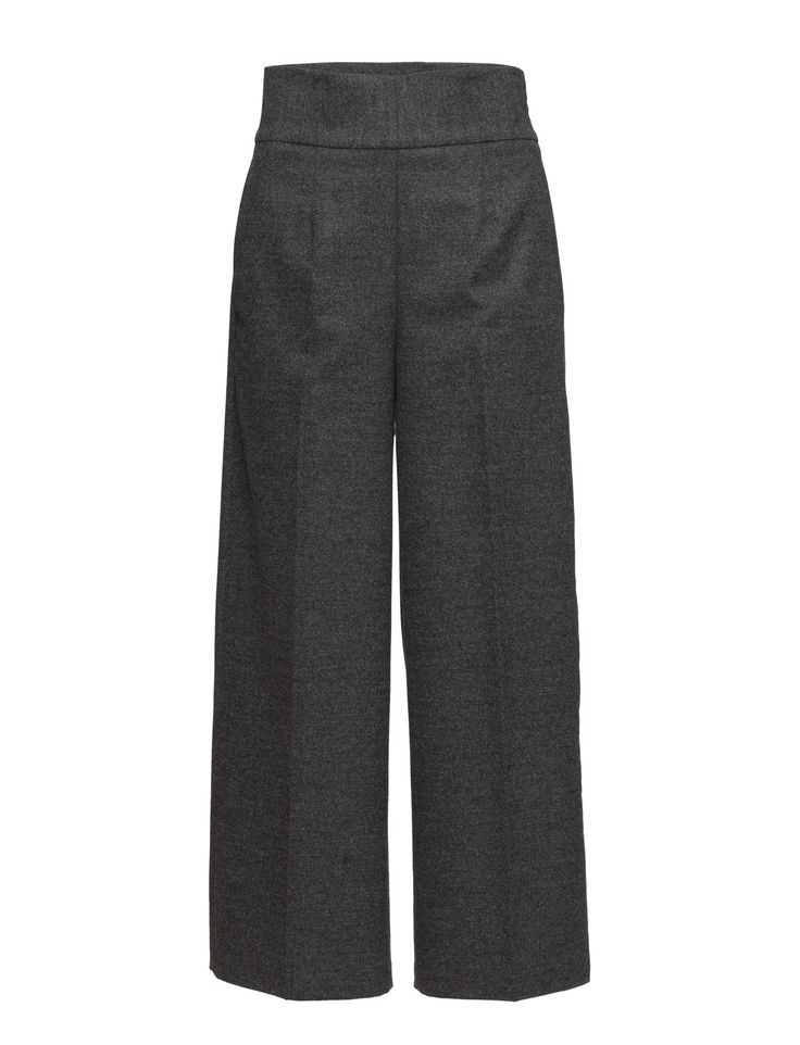 DAY - 2ND Dellina Side closure High-waisted Straight cut Wide leg Elegant Modern Sophisticated Creased lines Straight leg Pants Trousers