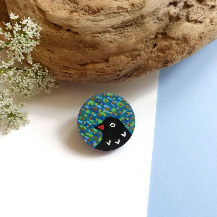 Wood Bird Brooch, Bird Gift Brooch, Nature Lover Gifts, Nature Inspired, Nature Jewelry, Wooden Animal Brooch, Hand Painted Bird Brooch