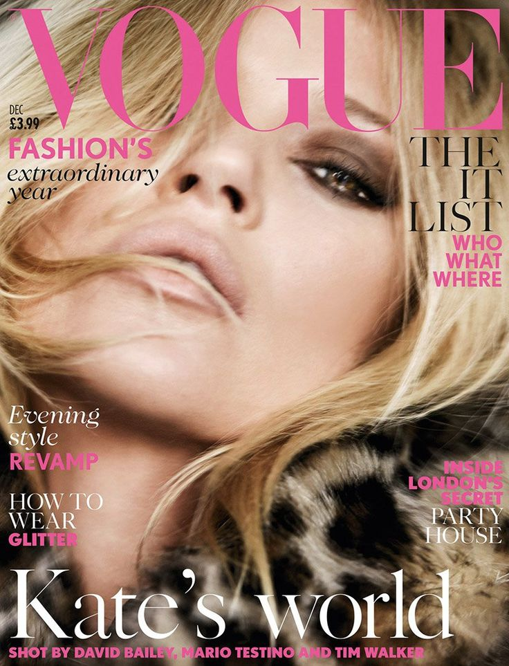 Kate's Vogue UK Covers--Adding yet another Vogue cover to her collection, supermodel Kate Moss appears on Vogue UK's December 2014 issue, posing for Mario