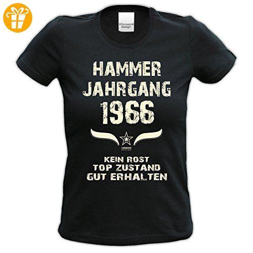 Geschenk zum 51. Geburtstag : Hammer Jahrgang 1966 : Damen Frauen Mädchen Girlie Kurzarm T-Shirt - Geschenkidee Geburtstagsgeschenk Farbe: schwarz Gr: S (*Partner-Link)