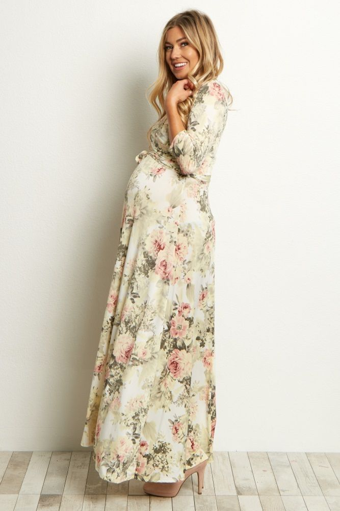 9a16eb7896c Ivory Floral Maternity Wrap Maxi Dress