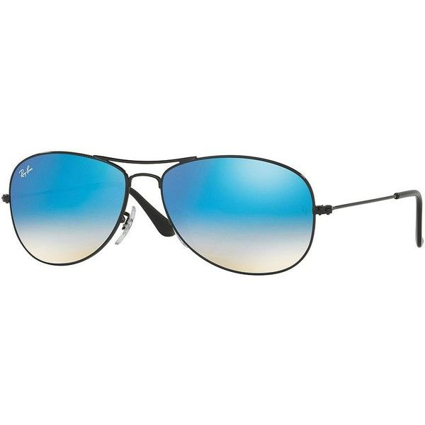Ray-Ban New Classic Aviators ($175) ❤ liked on Polyvore featuring men's fashion, men's accessories, men's eyewear, men's sunglasses, black blue, ray ban mens sunglasses, mens aviator sunglasses and mens blue aviator sunglasses