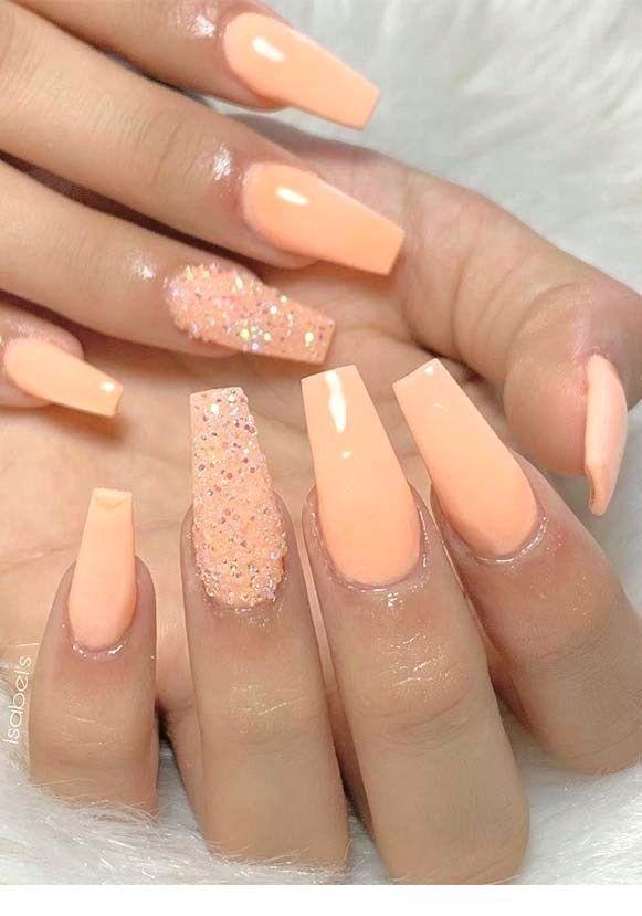 Charming Summer Acrylic Nail Designs Peach Acrylic Nails Orange Nail Polish Orange Nails