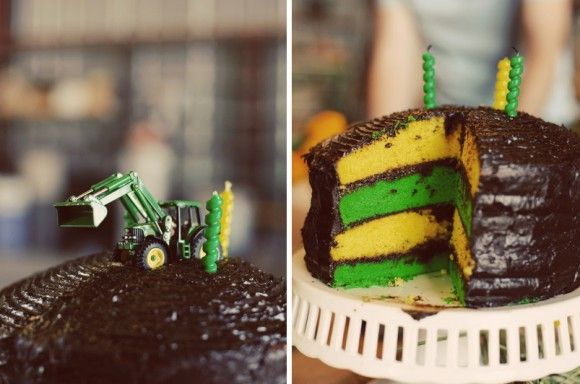 Love the yellow and green layered cake, with a toy tractor on top!