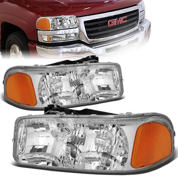 99 07 Gmc Sierra 1500 2500 3500 Hd Yukon Xl Headlights Chrome Housing Amber Corner In 2020 Gmc Sierra 1500 Gmc Sierra Headlights
