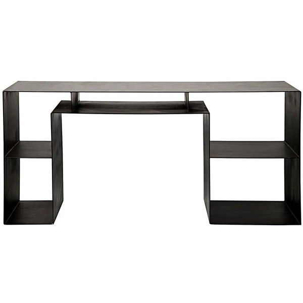 Zack Industrial Loft Steel Geometric Desk ($3,089) ❤ liked on Polyvore featuring home, furniture, desks, steel desk, steel furniture, industrial furniture, industrial home furniture and home storage furniture