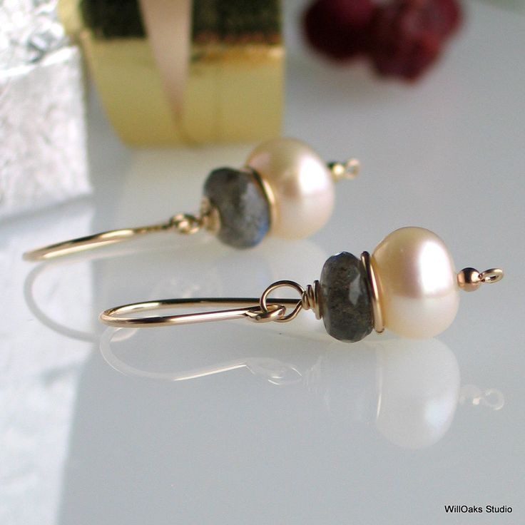 Pearl Labradorite Gold Earrings, Freshwater Pearl Earrings in Gold Filled, Classic Earrings, Designer Jewelry. $22.00, via Etsy.