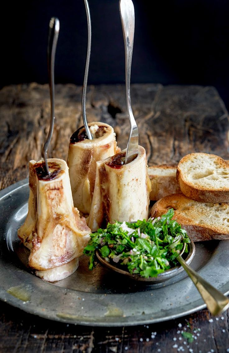 Wild Greens and Sardines : Roasted Bone Marrow and Parsley Salad