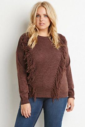 FOREVER 21  Plus Size Tassel-Front Sweater - Shop for women's Sweater - Aubergine Sweater