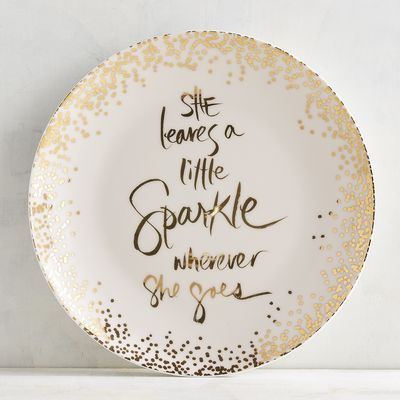 Add a pop of personality to your tabletop with our dishwasher-safe porcelain plate. Or give it to your most fabulous friend.