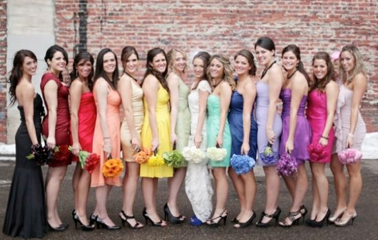 rainbow-bridesmaid-dresses.  they say what goes around comes around.