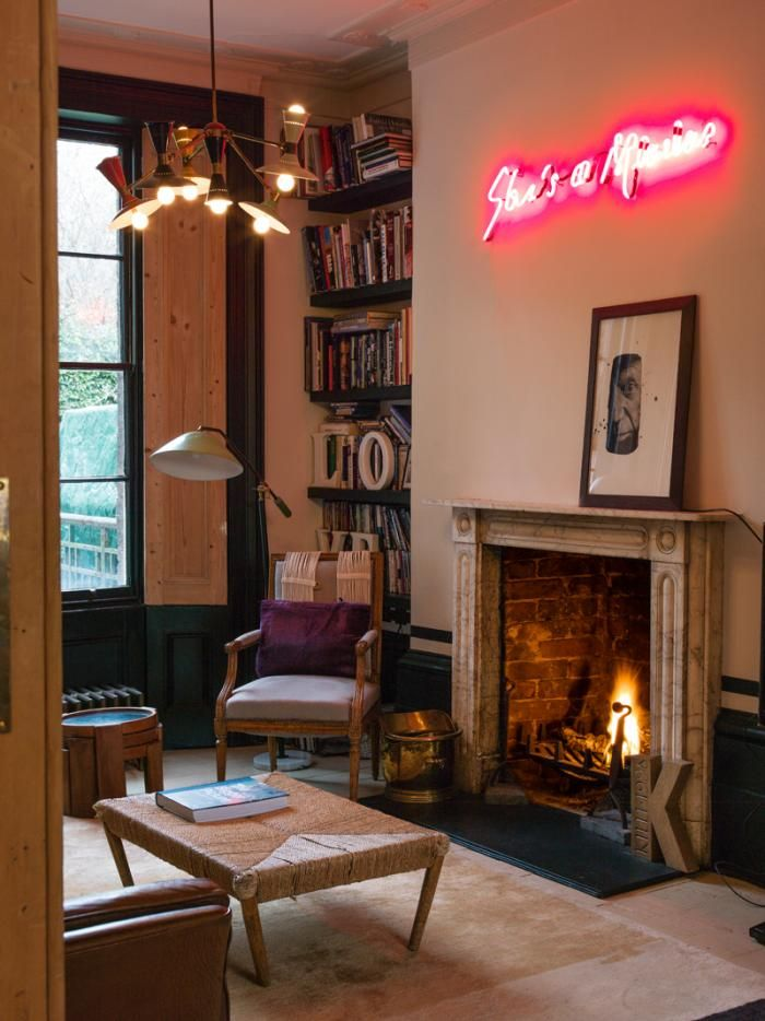 A Free Spirited Film Director  at Home in London. 91 best Neon Signs at Home images on Pinterest