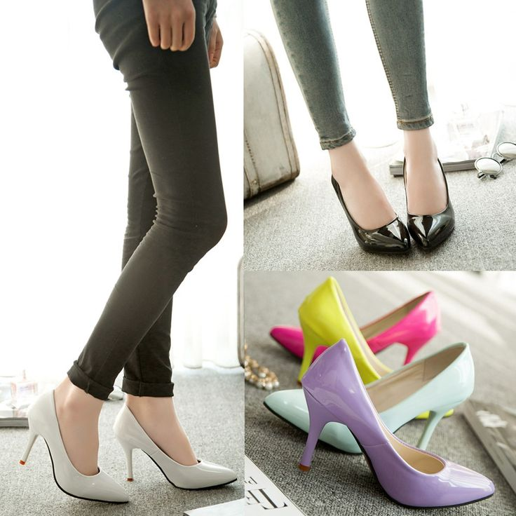 High Quality New Fashion Women Pumps Patent Leather Candy Color Pointed Toe High…