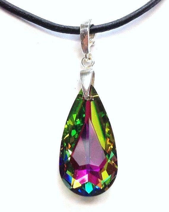 Swarovski 24mm vitrail medium teardrop crystal and sterling silver pendant with black leather nekclace by Emmalishop
