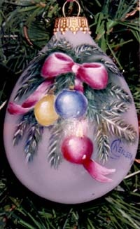 ~ Tole Painted Ornament ~ Love the unusual shape....